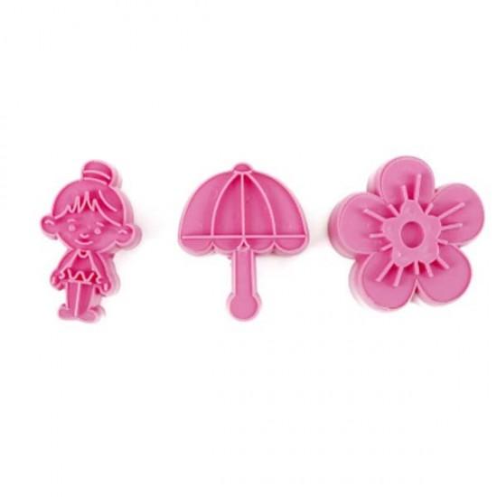 Formelės su įspaudais sausainiams ir masei: gėlytė, mergaitė, skėtis
