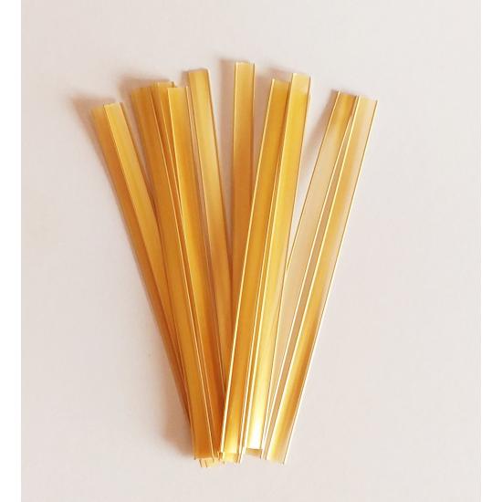Auksinės spalvos juostelės maišelių uždarymui, 15 vnt., 17,5 cm