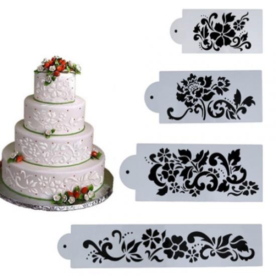 Trafaretai tortų kraštų dekoravimui, 4 vnt.