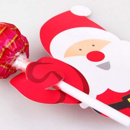 """Kortelės pagaliukams """"Kalėdų Senelis"""", 10 vnt."""