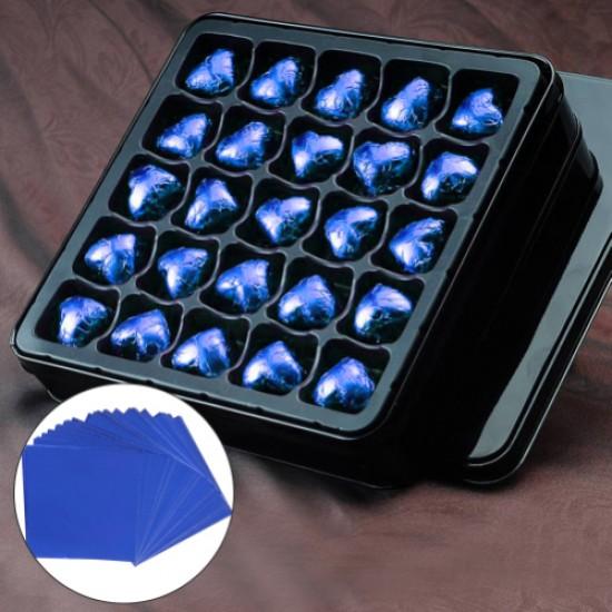 Mėlyna folija saldainiams įpakuoti, 15 vnt.