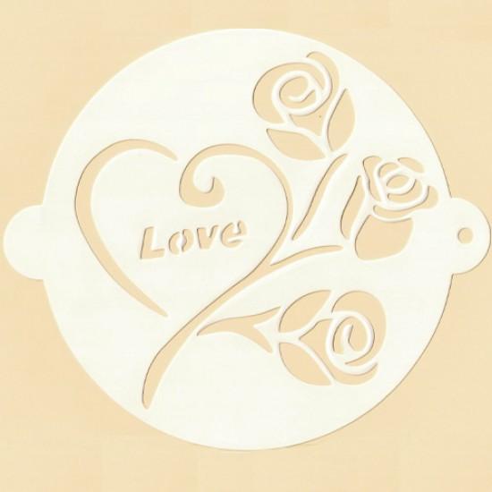 """Trafaretas """"Rožytės su meile"""", Ø 20,5 cm"""