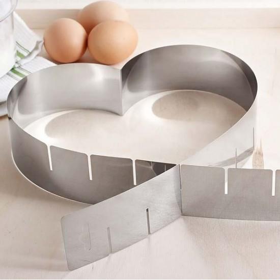 """Reguliuojama forma tortui """"Širdelė"""",Ø nuo14,5 cm iki 27 cm, h 5 cm"""