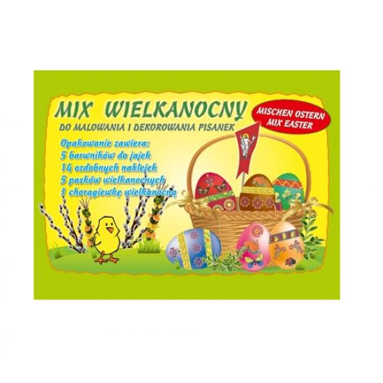Velykinis rinkinys: 5 vnt. dažų kiaušiniams, 14 vnt. lipdukų, 5 vnt. juostelių, smeigtukas