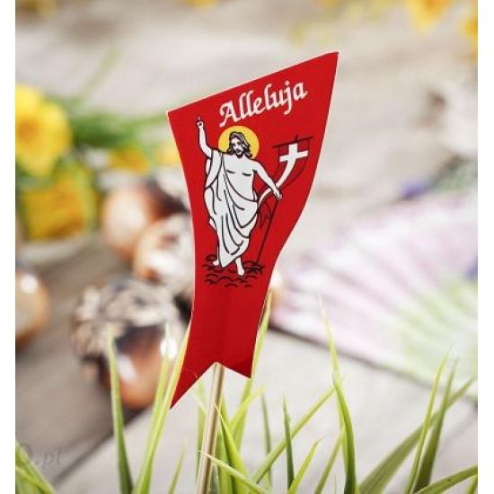 """Velykinis raudonas smeigtukas """"Prisikėlęs Kristus ir užrašas Alleluja"""""""