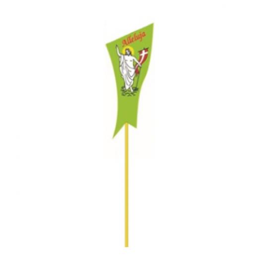 """Velykinis žalias smeigtukas """"Prisikėlęs Kristus ir užrašas Alleluja"""""""